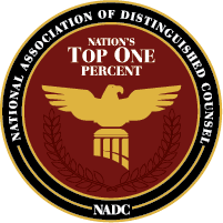 National Association of Distinguished Counsel - Nation's Top One Percent Logo for car accident attorney in Fort Atkinson WI